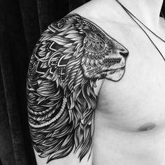"430 Likes, 4 Comments - Bondi Ink Tattoo (@bondiink666) on Instagram: ""Lion on shoulder by @shaunbones_tattoos #bondiink #bondiinktattoo"""
