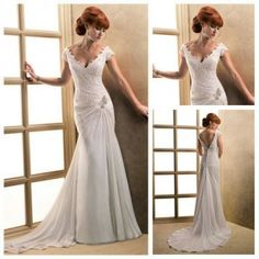 Short Train Beach Casual Cap Sleeve Sexy Design Lace Wedding Dresses With Keyhole Back