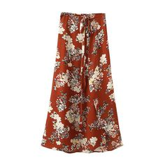 Multicolor Tie-Waist Bow Floral Print Long Skirt (€22) ❤ liked on Polyvore featuring skirts, bottoms, brown maxi skirt, bow skirt, floral skirt, multi color maxi skirt and tie waist maxi skirt