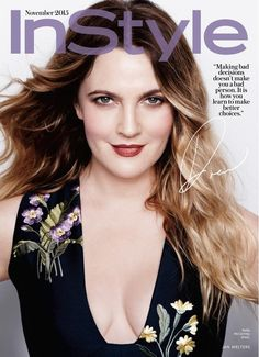 Drew Barrymore Pose on InStyle Magazine November 2015 Covers