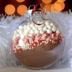 Winter wedding favour - hot choc etc in a bauble :)