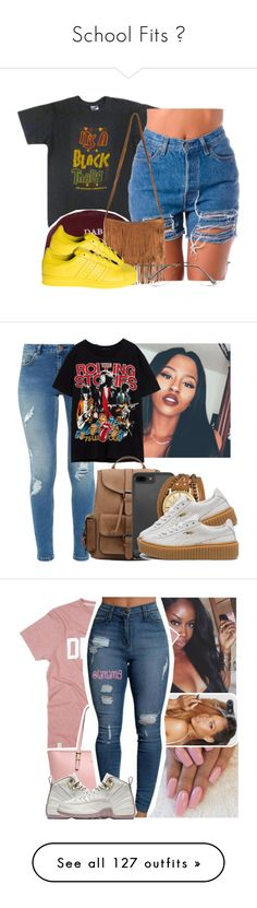 """School Fits "" by camilllashun ❤ liked on Polyvore featuring The High Rise, adidas, Ted Baker, Kahuna, Puma, MICHAEL Michael Kors, H&M, MCM, Reebok and Hood by Air"