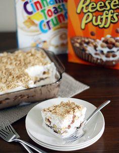 Cinnamon Toast Crunch Dessert Lasagna- WHAT?! Mind. Blown.