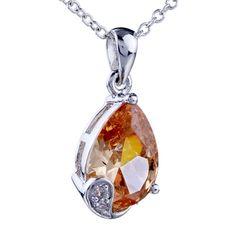Pugster Drop Crystal Citrine Pendant Necklace: Pugster Drop Crystal Citrine Pendant Necklace .Sophisticated… #CheapJewelry #DesignerJewelry