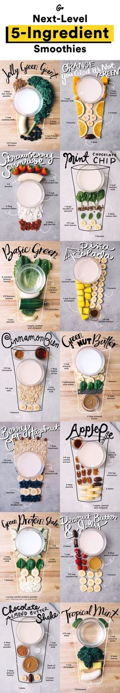 Van een Pina Colada s… Smoothie recipes with (less than) five ingredients each! From a Pina Colada smoothie to a Blueberry Pancake smoothie. All equally tasty and easy to make! Easy Smoothie Recipes, Easy Smoothies, Nutribullet Recipes, Fitness Smoothies, Vegan Smoothie Recipes, Fitness Diet, Green Smoothies, Vegetarian Smoothies, Detox Smoothies