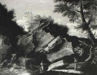Anglers and washerwomen at a rocky pool by Salvator Rosa