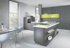 Modern Kitchen with White Cabinets Grey Countertops
