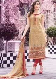 Casual Wear Cotton Beige Printed Churidar Suit