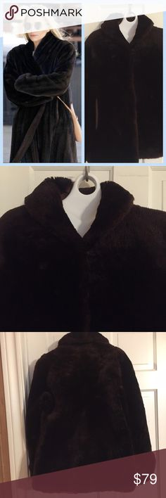 "💞Vintage Faux Fur Chocolate Brown Coat. Size S/M Vintage Faux Fur dark chocolate coat from James K. Wilson in Dallas Texas. Coat is in excellent condition. Lining  is in perfect condition all over except at the very top around neckline see picture 4. Easily fixed with a few whipstitches. Beautiful inside pockets and two hook closures.  No size inside so see measurements. Bust: 21"" measured flat across front. Length:  27"". Sleeve length 24"" with cuffs and dolman sleeves. Vintage Jackets…"