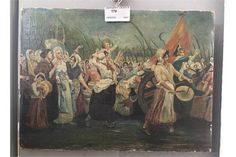 An oil on board depicting a French Revolution scene, signed Petre, 24  x 30 cm | Believed to depict the Women's March on Versailles, Oct. 1789