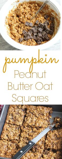 Pumpkin Peanut Butter Oat Squares Easy to make snack that is dairy free, gluten free, and ready in under 30 minutes Lean, Clean, & Brie Healthy Sweets, Healthy Drinks, Healthy Snacks, Healthy Eating, Healthy Recipes, Weight Watcher Desserts, Low Carb Dessert, Dessert Bars, Paleo Dessert