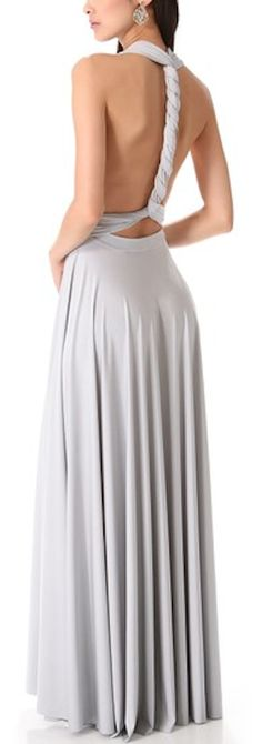 beautiful light grey convertible maxi dress - makes for a great bridesmaid dress