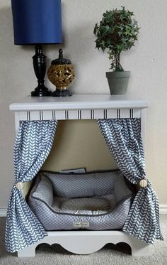 Great upcycle of an old night stand into a dog bed