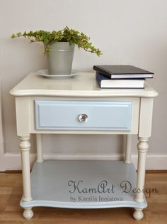Old pine bedside table painted with Dulux Made By Me paint