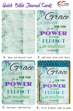 12 Digital Printable Bible Journal Cards, Just add Scripture and washi tape into your Bible. Shabby Chic, water color, , Vintage Printable Digital Scrapbooking #biblejournalingdigitally, #Biblejournaling
