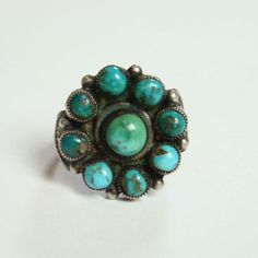 Native American Zuni Turquoise Sterling Silver Flower Ring Size 8 Southwestern Indian Jewelry by redroselady on Etsy