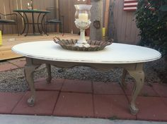 Coffee table painted with Annie Sloan Old White and Coco.