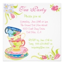 Victorian Stacked Tea Cups Tea Party Invitation