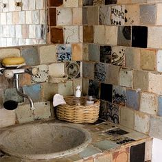 Primitive hand made tile bathroom.  Love this for a tiny house shower stall!  Great way to give a small bathroom character.