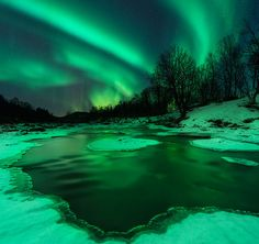 NORTHERN LIGHTS: Last night (Dec. 15th), a slight uptick in the solar wind speed was enough to spark auroras around the Arctic Circle. In Troms, Norway, the earth turned nearly as green as the sky: