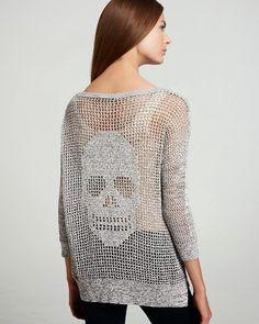 Agulhas Encantadas: Blusa caveira crochê filé! i think i should make for Tiffany/