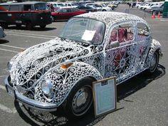 White Filigree VW Beetle