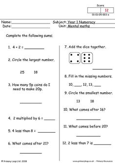 A year one mental maths worksheet for year one. The child should answer all twelve questions as fast as they can. Math Quizzes, Fun Worksheets For Kids, Math Practice Worksheets, Math For Kids, Math Olympiad, Olympiad Exam, 1st Grade Math, Math 2, Grade 3