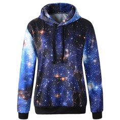 Erlking Women's Colourful Printing Blue Galaxy Hooded Pullovers... ($16) ❤ liked on Polyvore featuring tops, hoodies, sweatshirts, galaxy, pullover sweatshirts, blue sweatshirt, pullover tops, blue top and galaxy print sweatshirt