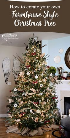 How to create a farmhouse Christmas Tree filled with DIY ideas you will treasure forever! Enjoy this Ralph Lauren Christmas style with a blend of burlap, pheasant feathers, and more!                                                                                                                                                                                 More