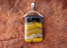 Bumble Bee Jasper Pendant (Sterling Silver). $122.00, via Etsy.