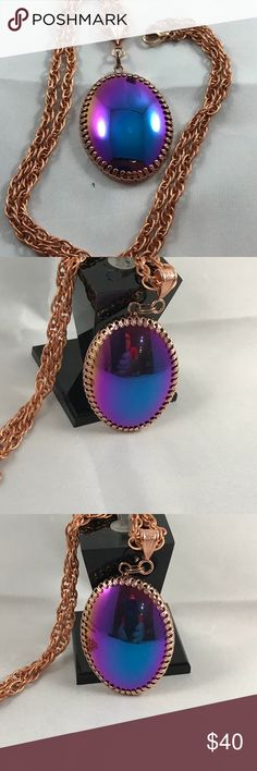 "Rainbow Hematite Copper Necklace A-11-18 Magnificent 30x40mm Titanium Hematite Cabochon is Set in a Filigree Copper Bezel. The bail and 23"" chain are also Copper. One of a kind Creation HM Simon Creation Jewelry Necklaces"