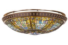 43.5 Inch W Fleur-de-lis Flushmount. 43.5 Inch W Fleur-de-lis flush mount Theme:  LODGE ART GLASS GOTHIC Product Family:  Fleur-de-lis Product Type:  CEILING FIXTURE Product Application:  FLUSH MOUNT Color:  GREEN/BLUE LT BLUE XAG BLUE Bulb Type:  Bulb Quantity:   Bulb Wattage:   Product Dimensions:  13-16.5H x 46.5WPackage Dimensions:  NABoxed Weight:  58 lbsDim Weight:  NAOversized Shipping Reference:  TRUCKIMPORTANT NOTE:  Every Meyda Tiffany item is a unique handcrafted work of...