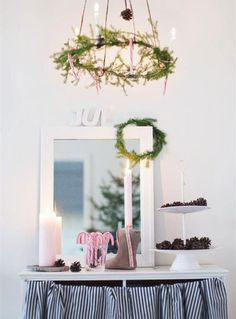 Hang a horizontal wreath on the 2nd floor of our church, above the eating area, along with dripping ornaments and lights from the overheard railing @Jia Chen