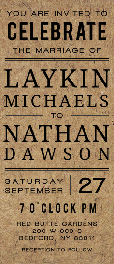 The Classic Craft wedding invitations offers a rustic feel with modern style.