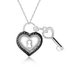 $19.99 - Genuine Black Diamond Heart Key Pendant in Sterling Silver