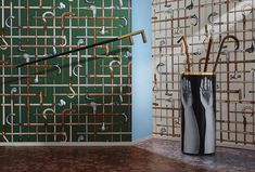 Lemons, oranges, classical façades, and walking sticks are among the motifs in the latest Fornasetti collection for English wallpaper brand Cole & Son. Gaston Y Daniela, Cole Son, Art Deco Wallpaper, Cole And Son Wallpaper, Cocktails, Hat Stands, Modern Art Deco, Inspirational Wallpapers, Wallpapers