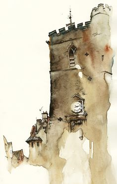 Carfax Tower, Oxford by Park Sunga Watercolor Architecture, Watercolor Landscape, Art And Architecture, Landscape Paintings, Watercolor Sketch, Watercolor Illustration, Art Aquarelle, Guache, A Level Art
