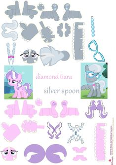 original papercraft by requested by my little pony: friendship is magic belongs to and diamond tiara and silver spoon papercraft My Little Pony Party, My Little Pony Craft, 3d Paper Crafts, Paper Toys, Paper Art, Little Poney, Silver Spoons, My Little Pony Friendship, Planner