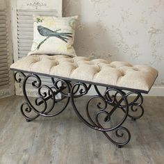 Ornate Upholstered Bench A gorgeous bench with a cream/beige padded seat Iron Furniture, Steel Furniture, Furniture Design, Furniture Online, Painted Furniture, Furniture Sets, Shabby French Chic, Shabby Chic Homes, Living Room Decor