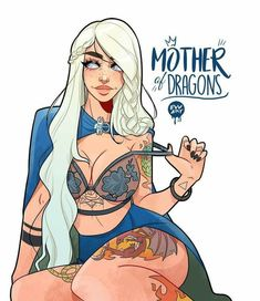 Mother of Dragons Anime Art Fantasy, Fantasy Girl, Evvi Art, Bd Art, Cartoon Kunst, Cartoon Art, Female Character Design, Character Art, Fantasy Characters