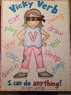 My rendition of Vicky Verb! I absolutely loved the idea for this anchor chart. My students really like the character. Thank you Pinterest!