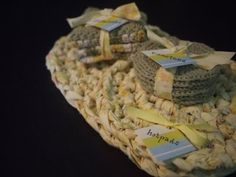 crochet goodness (coasters, dishcloths, hotpads) tied up with scrap fabric
