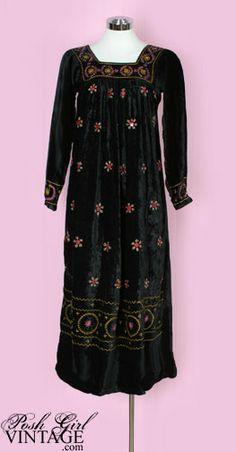1960's Bohemian Black Velvet Embroidered Dress........bohemian chic at it's best.......