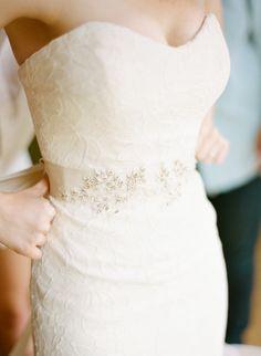 Strapless dress with a beaded belt: http://www.stylemepretty.com/2015/04/24/organic-elegant-inn-walden-wedding/ | Photography: Arielle Doneson - http://www.ariellephoto.com/