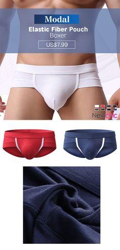 e214dc1b5c1b Mens Modal Breathable Elastic Fiber Soft Patchwork Sexy Underwear U Convex  Pouch Boxer. Newchic Official