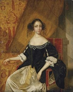 Portrait of a lady traditionally identified as Queen Catherine of Braganza, three-quarter-length, seated, in a black velvet bodice with pearls and a white satin dress, with a crown 17th Century Clothing, 17th Century Fashion, 17th Century Art, 21st Century, White Satin Dress, Satin Dresses, Amelie, Catherine Of Braganza, Lady In Waiting