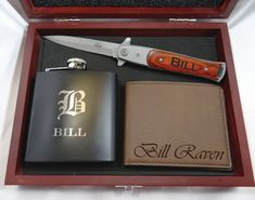 High Quality Groomsmen Gift Box that includes Rosewood Finish Box, Matte Black Flask, Brown Leather Wallet and Silver Stiletto Knife Groomsmen Gifts Unique, Groomsmen Gift Box, Groomsman Gifts, Groomsmen Proposal, Personalized Gifts For Men, Engraved Gifts, Engraved Pocket Knives, Expensive Gifts, Best Gifts For Men