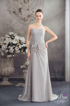 A-line Strapless Chiffon Sweep Train Dress  Only 111.00