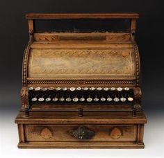 National Register, Dayton, Ohio- Walnut and parquetry cash register