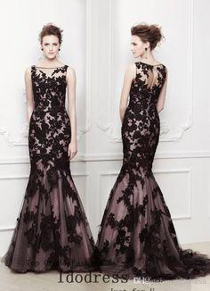 Discount Wonderful Lace Sheer Evening Dresses 2014 Slim Mermaid Trumpet Scoop Neck Handmade Applique Satin Yk8R117 Online with $202.2/Piece ...